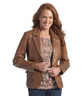 Reba Reba McEntire Camel Leather Studded Cross Western Jacket s $448