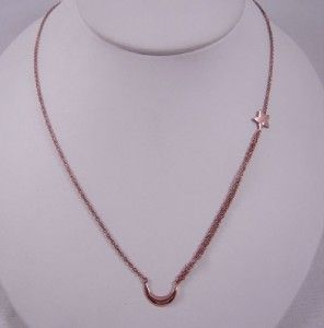 Melinda Maria Baby Moon Star Necklace Rose Gold