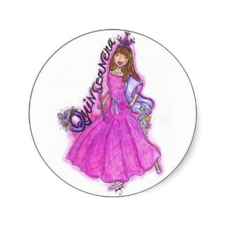 Mis Quince Anos Round Stickers