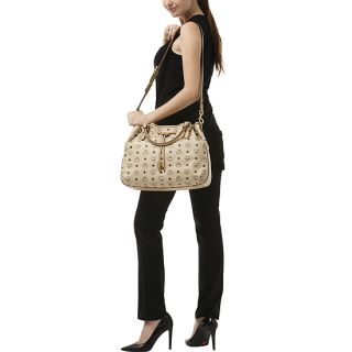 Brand New Authentic MCM Vintage Visetos Shoulder Bag Medium NWT Beige