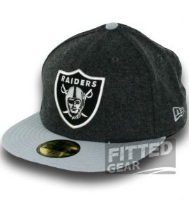 Oakland Raiders Melton Basic Gray Wool New Era 59Fifty NFL Fitted Hats