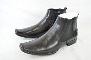 Steve Madden Mens Banke Black Leather Trendy Ankle Boot