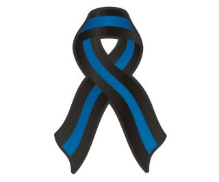 Ribbon Police Officer FOP Memorial Car Vinyl Sticker Decal GRV