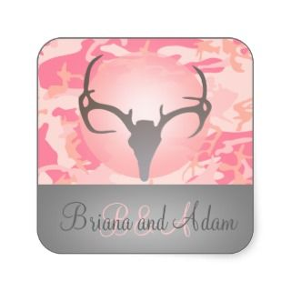 Personalized Hunting Antlers Pink Camo Wedding Sticker