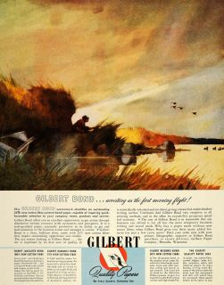 Ad Gilbert Paper Duck Hunter Hunting Menasha WI   ORIGINAL ADVERTISING