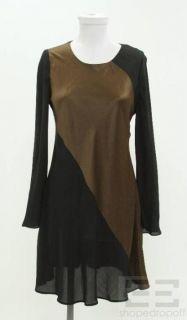 Melinda Eng Black Brown Silk Paneled Dress Size Medium