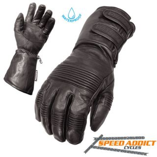 GT 4100 Mens WK Extra II Black Winter Leather Motorcycle Gloves Large