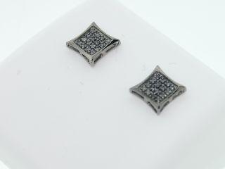 Mens 10K Black Gold Black Diamond Kite Earrings Studs