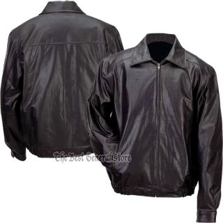 Mens Lined Solid Genuine Black Leather Bomber Style Casual Jacket Coat