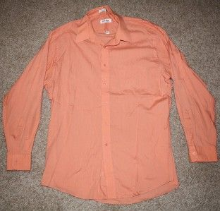 mens ORANGE MELONE DRESS SHIRT pierre cardin COLLARED work 17 34/35 XL
