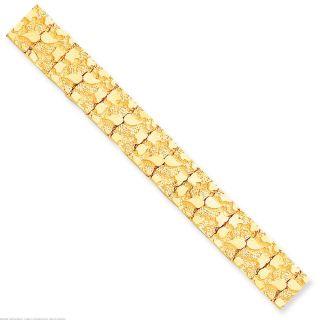 10K Yellow Gold Nugget Bracelet Mens Jewelry 7