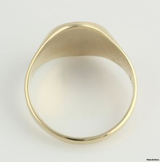 Initial R Mens Signet Style Ring Band   10k Yellow Gold Solid Back