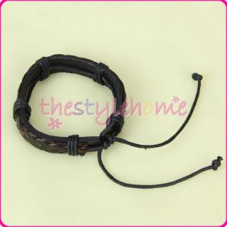Mens Multi Wrap Brown Leather Cord Bracelet Wristband