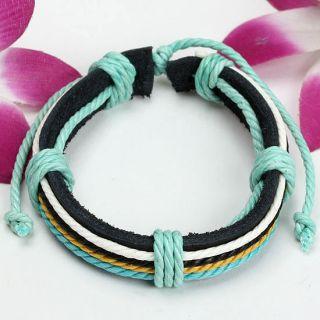 Multicolor Hemp Cord Leather Weave Mens Adjustable Bracelet