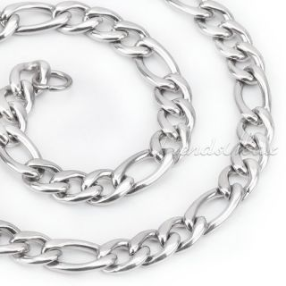 Mens Boys 7mm Figaro Stainless Steel Necklace Chain Customize 20 22