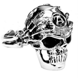 Mens Sterling Silver Hand Skull Ring Biker Motorcycle