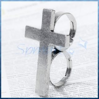 Cool Mens Retro Cross Two Finger Double Connector Ring