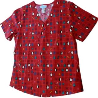 Red Penguin Christmas Nurse Smock Medical Scrubs Top Holiday