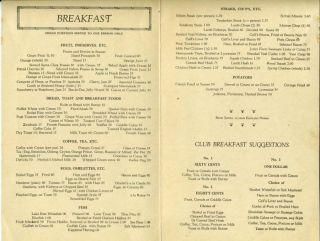 Hotel Cleveland Menu 1920s Brains Kidneys Tripe
