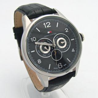 Hilfiger Mens Big MultiFunction Black Leather Strap Watch # 1710255