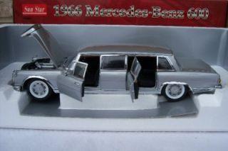 Sun Star 1966 Mercedes Benz 600 Silver Metal Die Cast Limousine 1 18