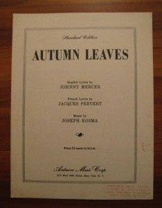 Autumn Leaves Sheet Music 1950 Johnny Mercer Les Feuilles Mortes (O