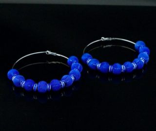 Housewives Style Royal Blue Mesh Ball Rhinestone Hoops Earring