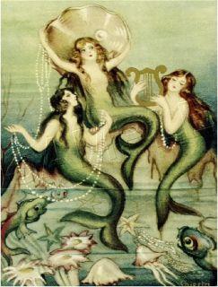 Victorian Pearl Mermaids Fairy Fantasy Canvas Art