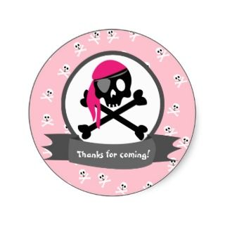 Arg Grey and Pink Pirate Skull and Crossbones Sticker
