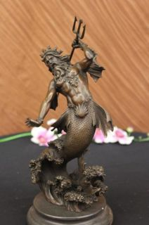 Brown Patina Greek God Poseidon Merman Bronze Sculpture Marble Art