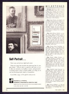 1963 Merrill Lynch Investments Self Portrait Print Ad