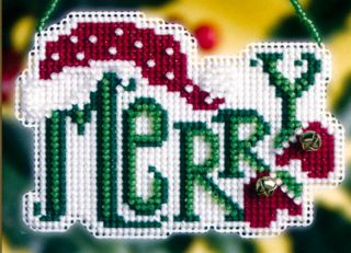 Merry Beaded Cross Stitch Ornament Kit Mill Hill 2008 Winter Greetings