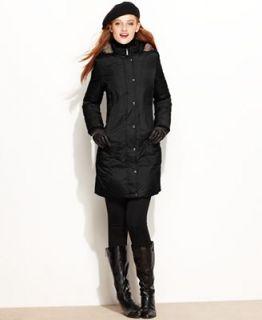 London Fog Petite Coat, Faux Fur Trim Hooded Puffer