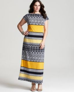 Melissa Masse New Multi Color Printed Cap Sleeve Maxi Casual Dress