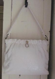 Vintage White Mesh Med Size Shoulder Bag Purse Handbag