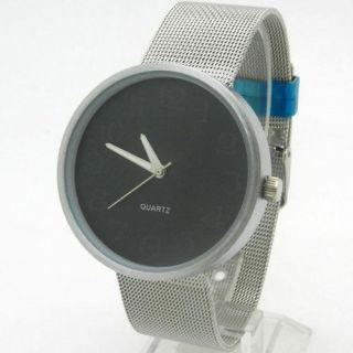 Cool Silver Metal Iron Net Mesh Band Quartz Wrist Watch Mens Xmas Gift