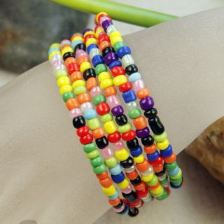 New Colorful Seed Beads Memory Wire Bracelet Bangle Hot