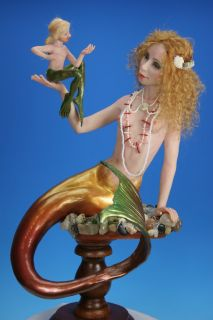 OOAK Art Doll Prelude to A Kiss Fairytale Fantasy Mermaid Sculpture by