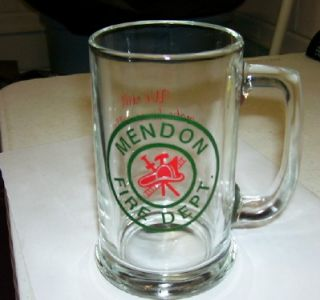 VTG MENDON FIRE DEPT GLASS BEER MUG ROCHESTER NY NICE WE MAKE HOUSE