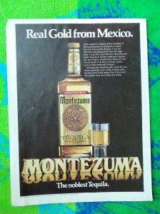 ADVERTISEMENT~ALCOHOL~MONTEZUMA TEQUILA AZTEC GOLD MEXICO LIQUOR DRINK