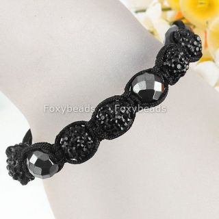 Men Black Disco Crystal Pave Black Faceted Hematite Beaded Macrame