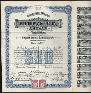 1912 Mexico Compania Minera Borda Antigua Y Anexas En Tlalpujahua
