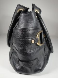 EUC COLE HAAN DENNEY BLACK LEATHER LARGE HAND BAG PURSE TOTE BRAIDED