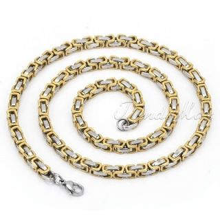 Mens Boys Gold Silver Tone Box Chain 316L Stainless Steel Necklace 18