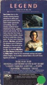 VHS Legend Tom Cruise MIA Sara Tim Curry RARE