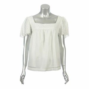 Michael Kors Womens White Cotton Eyelet Babydoll Top PM