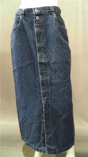 Bill Blass Jeans Ladies Womens 8 Comfort Straight Long Skirt Dark