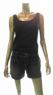 Amanda Smith Misses 4 Tank Top Black Solid Sleeveless Shirt Blouse