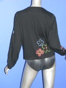 Michael Simon Lite Cotton Cardigan Top Blouse Black Embroidered