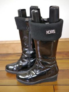 Michael Kors Chrissy Patent Leather Zip Microfleece Snow Rain Wedge